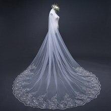 3/4/5 metro branco marfim catedral véus de casamento longo borda do laço véu nupcial com pente acessórios casamento noiva veu véu