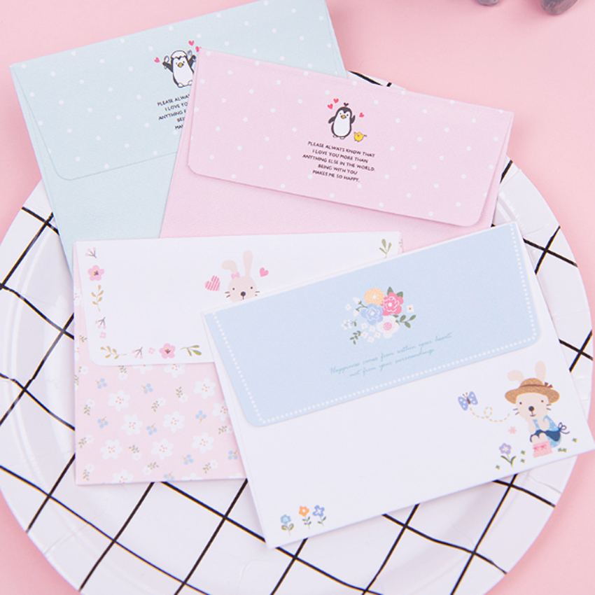 1set/lot 92*135mm Cartoon Mini Four Selections Two Envelope And Four Paper Letter Gifts Supplies Envelopes For Invitations