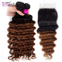 Tinashe-mechones de pelo humano brasileño Remy 1B con cierre, mechones de ondas profundas, con cierre