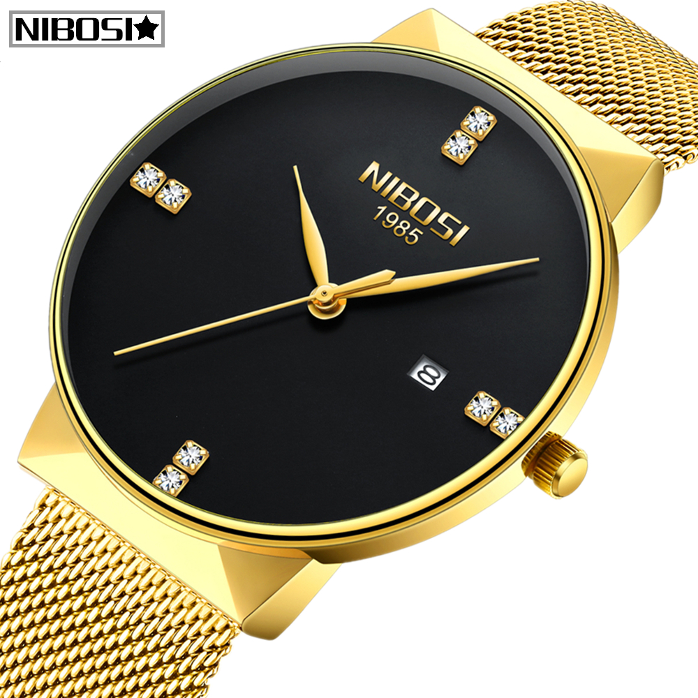 Reloj Relogio Masculino NIBOSI Gold Watch Men Fashion Sport Quartz Diamond Simple Clock Top Brand Luxury Waterproof Mens Watches