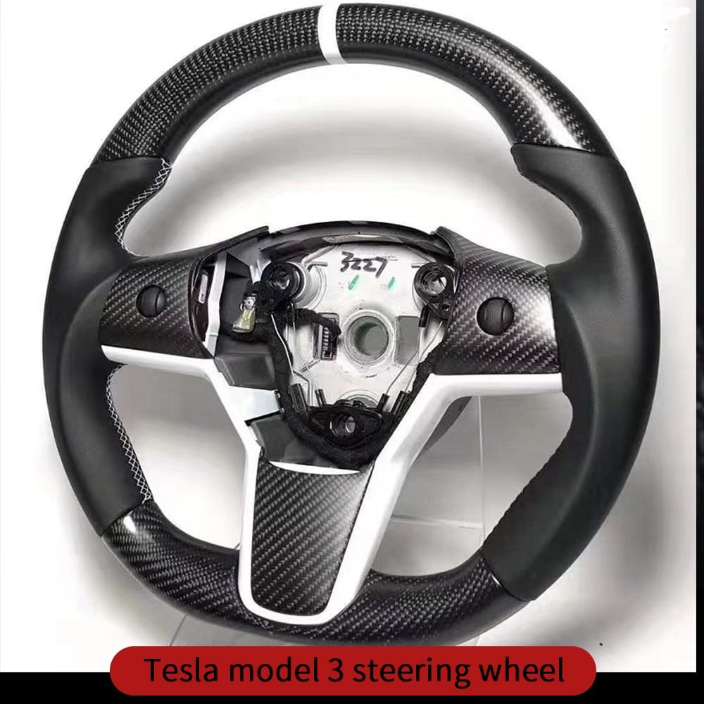 Steering Wheel Trim For Tesla Model 3 Accessories/car Accessories Model 3 Tesla Three Tesla Model 3 Carbon/accessoires