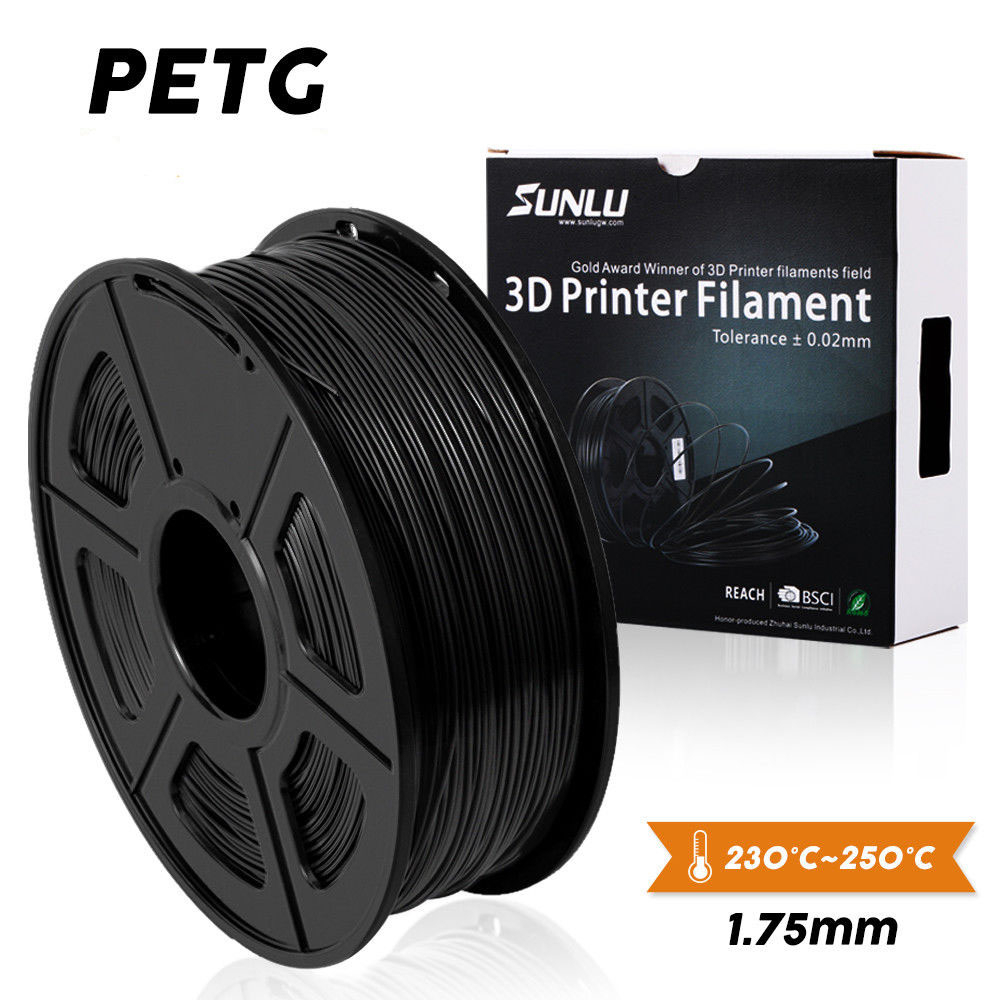 SUNLU PETG 3D Printer Filament 1.75mm Dooling Gift Material Hot Sale Black Color PETG 3D Filament Consumables 1KG/2.2LBS