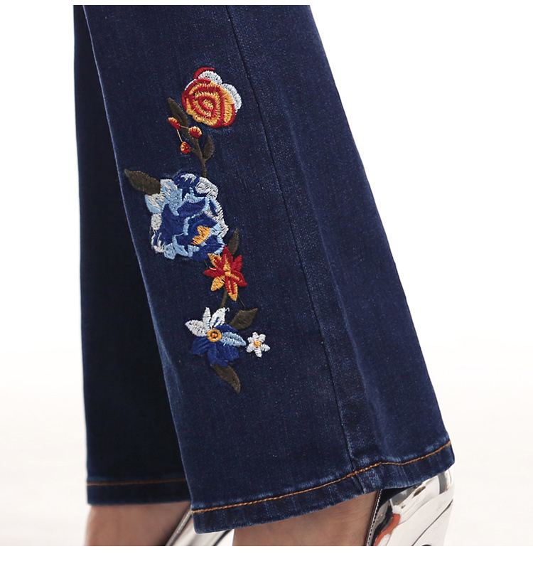 KSTUN FERZIGE Women Jeans High Waist Flare Pants Embroidered Florals Dark Blue Stretch Famous Brand Mom Jeans Trousers Femme Jeans 17