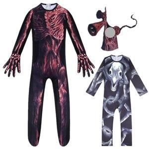 SCP fundacja syrena głowa długi koń Cosplay Horror kostium chłopcy dzieci kombinezony maska sukienka Halloween