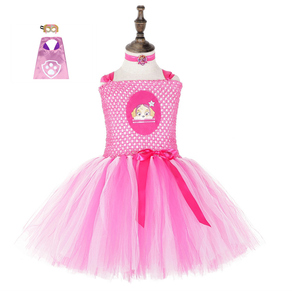 Children New Year Performance Costume Paw Patrol Clothing Pink Mantle Child Formal Dress Europe And America Cartoon COS Formal D
