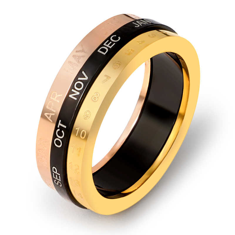 Classic Design Rotation Calendar Date Ring Titanium Stainless Steel Rings Gold Color Brand Ring Woman Jewelry Men Accessory