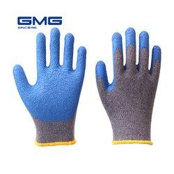 Rękawice robocze męskie GMG Grey Shell niebieskie lateksowe marszczone rękawice ochronne bawełniane rękawiczki w Rękawice ochronne od Bezpieczeństwo i ochrona na