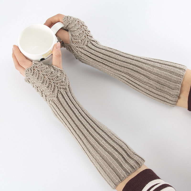 Women Winter Knitting Half Finger Mitts Gloves Fish Scales Warm Men Women Arm Set Arm Sleeve Solid Color Arm Warmmer Hot Sale