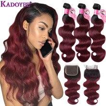 1b/99j ombre onda do corpo feixes de cabelo humano com fechamento cabelo brasileiro tecer pacotes com fechamento remy extensões de cabelo para as mulheres
