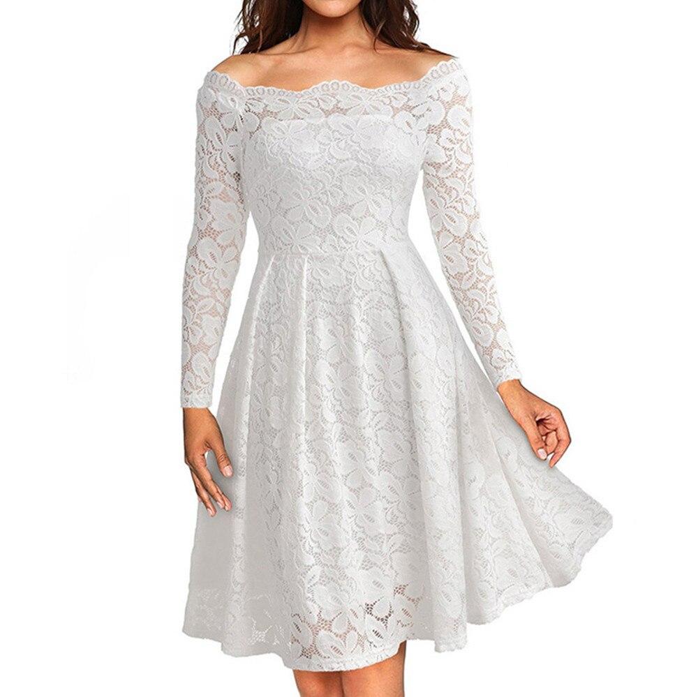 Spring Dress Women Ladies Off shouder Long Sleeve Elegant Dress Solid Color A-Line Dresses Female Party Vestidos Mujer #LR2