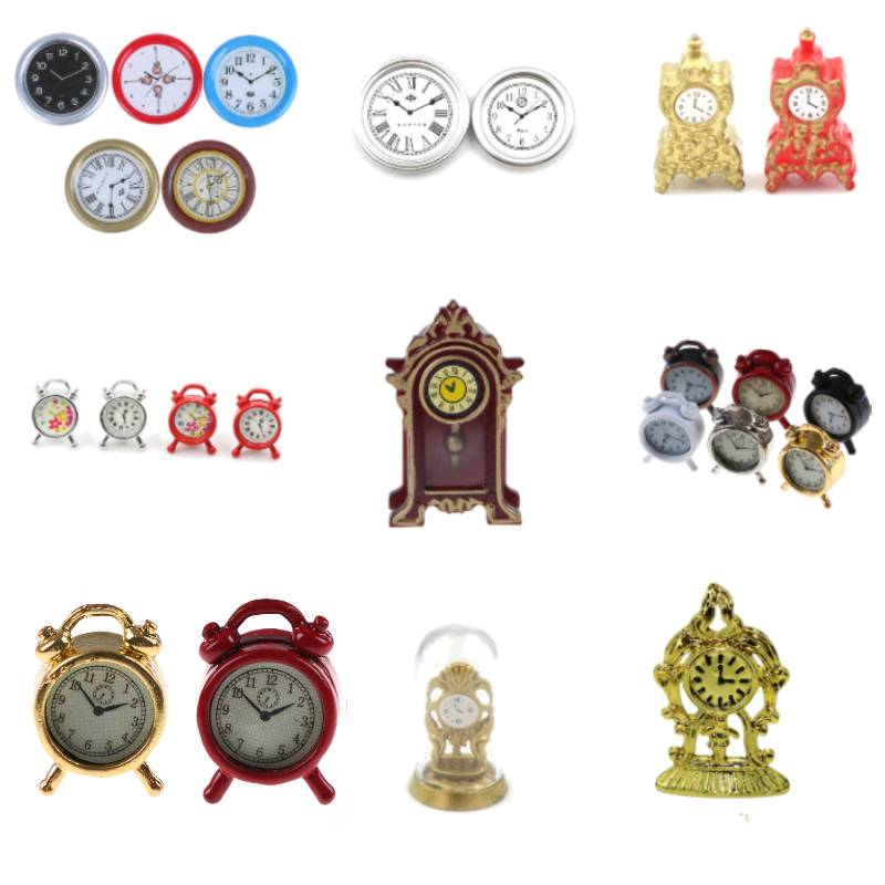 1:12 Scale Alarm Clock Mini Home Decoration Dollhouse Miniature Toy Lovely Doll Kitchen Living Room Accessories