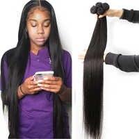 Fashow pelo recto 30 32 34 36 40 pulgadas de 1/3/4 mechones de cabello tejido peruano 100% Natural del pelo Remy del pelo humano mechones