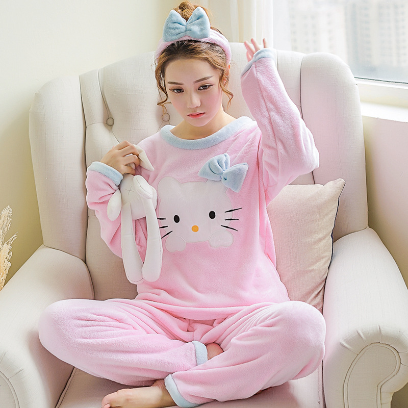 Women Pajama Sets With Hair Band Hello Kitty Women Clothing Girls Cat Pajamas Winter Thick Flannel Ladies Home Clothes Plus Size