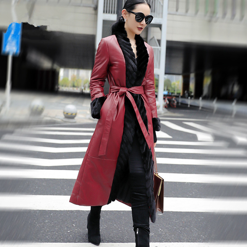 Jacket Leather Genuine Real Mink Fur Collar Korean Down Jacket 2020 Winter Jacket Women 100% Long Sheepskin Coat MY3743