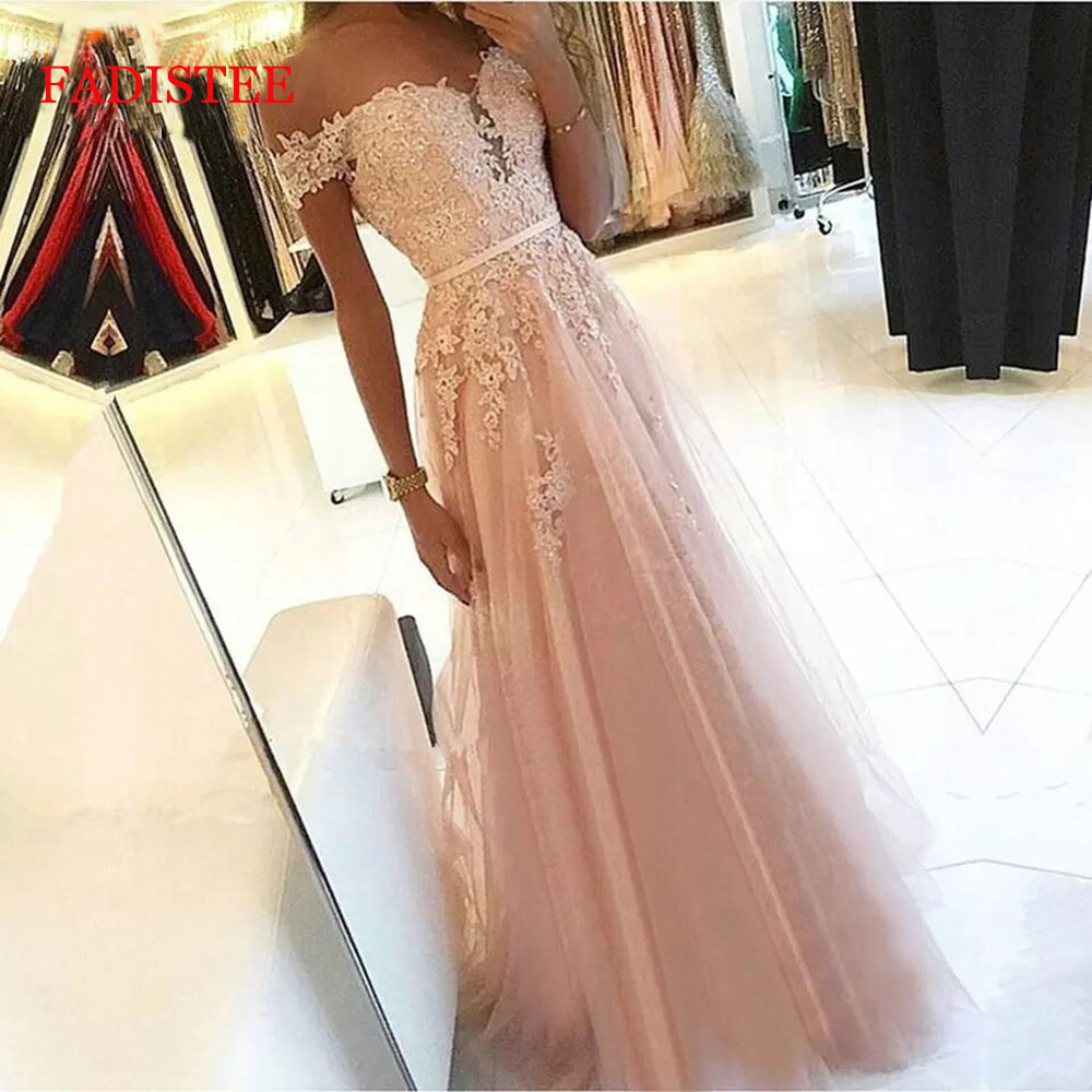 Lace Off The Shoulder Pink Vestidos De Fiesta De Noche Prom Party Evening Dresses Robe De Soiree Gown Frock Long 2020