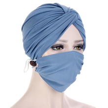 Hat Female New Multicolor Solid Crystal Twist Cap Face Mask Nail Button Hair Guard Bonnets For Women Hijabs Fashion Dust Proof