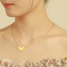 Teamer Cute Butterfly Necklace for Women Stainless Steel Pendant Gold Plated Necklaces Fashion Jewelry Gifts for Girl Chokers