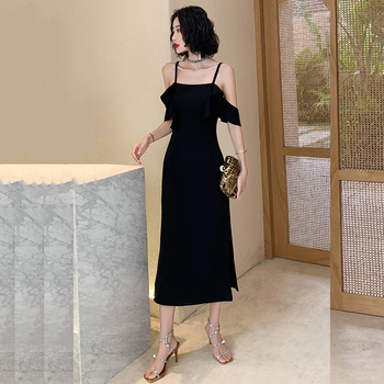 Black Solid Vestido De Fiesta CR384 Spaghetti Strap Formal Prom Dress Straight Split Elegant Dress Short Sleeve Party Gowns 2020
