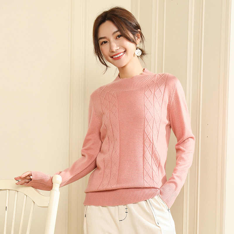 Women's sweater 2019 winter new half-high collar solid color striped fashion wild sweater ladies cashmere sweater
