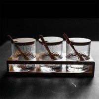 Japanese style hammer glass salt can seasoning jar three piece kitchen condiment jar set seasoning tank