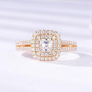 Женское кольцо с бриллиантами kuoolit, обручальное кольцо из 100% натурального моисанита, 9 К желтого, белого золота, ювелирные украшения для свад...