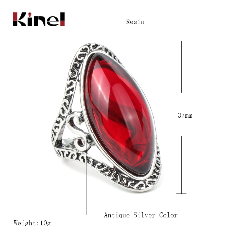 Kinel Boho Green Big Oval Finger Rings For Women Vintage Antique Tibetan Silver Female Statement Beach Holiday Jewlery Gifts