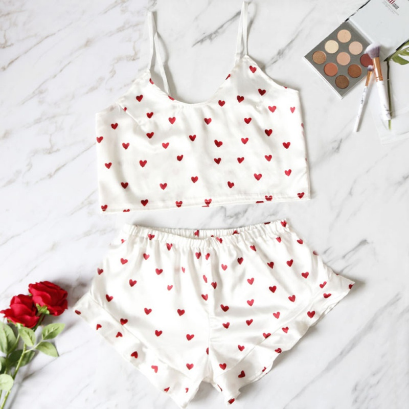 Sweet Print Pajamas Two-piece Set Women Sexy Camis Sling Shorts Pajama Suit Satin Home Service