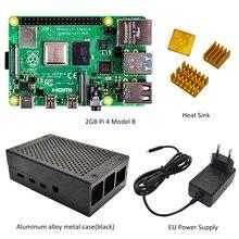 Raspberry Pi 4 모델 B 2GB 키트 Pi 4 B 알루미늄 합금 케이스 (검정색 또는 은색) 및 방열판 냉각 키트가있는 2GB RAM
