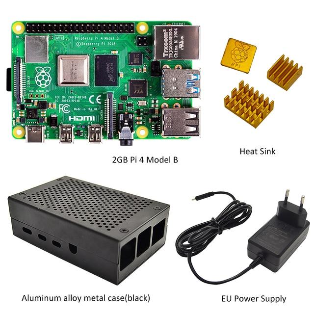 Raspberry Pi 4 Mẫu B 2GB Bộ RAM 2GB Với Pi 4 B Hợp Kim Nhôm (đen Hoặc Màu Bạc) và Tản Nhiệt Làm Mát Bộ