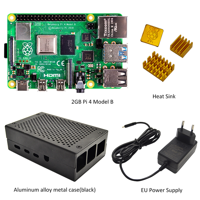 Raspberry Pi 4 model B 2GB Kit   2GB RAM With Pi 4 B aluminum alloy case (Black or Sliver) and the heat sink Cooling Kit