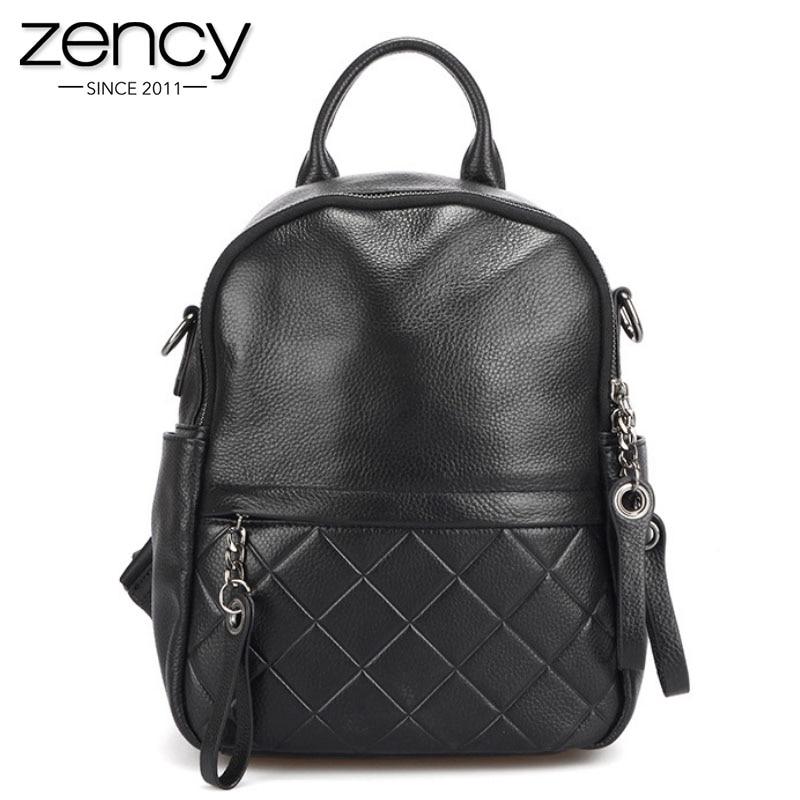 Zency 100% Genuine Leather Vintage Women Backpack Elegant Black Daily Holiday Knapsack Casual Travel Bags Girl's Schoolbag White