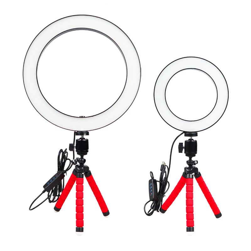 Photography LED Selfie <font><b>Ring</b></font> <font><b>Light</b></font> <font><b>16</b></font>/26cm three-speed Stepless Lighting Dimmable With Cradle Head For Makeup Video Live Studio image