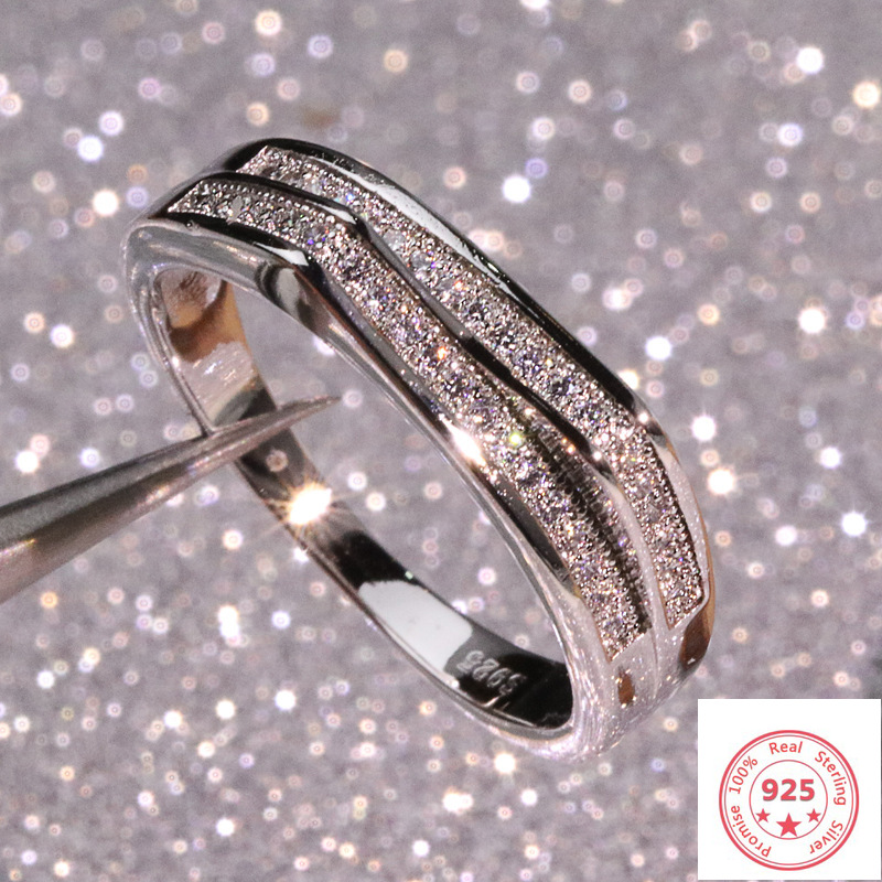 925 Silver Color Sterling VS1 Diamond Ring For Women 2 Carats Topaz Bizuteria Anillos Gemstone Stamp Silver 925 Jewelry Ring Box