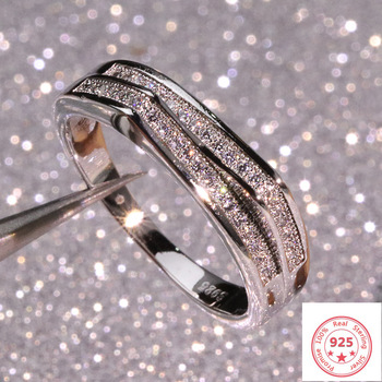 925 Silver Sterling VS1 Diamond Ring for Women 2 Carats Topaz Bizuteria Anillos Gemstone Stamp Jewelry Box