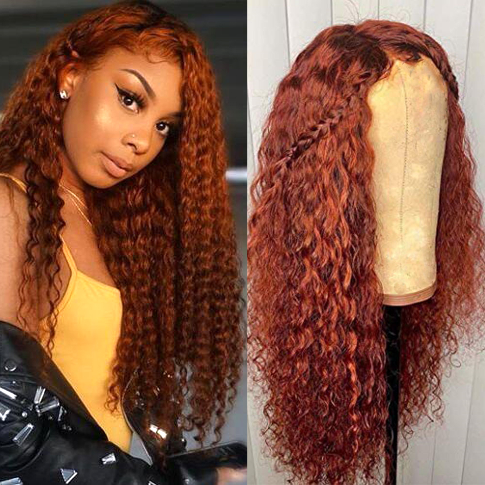 Orange Brown Soft Hair Loose Wave Full Lace Wigs With Fake Scalp Human Hair Wig With Baby Hair Bleached Knots Glueless Wig