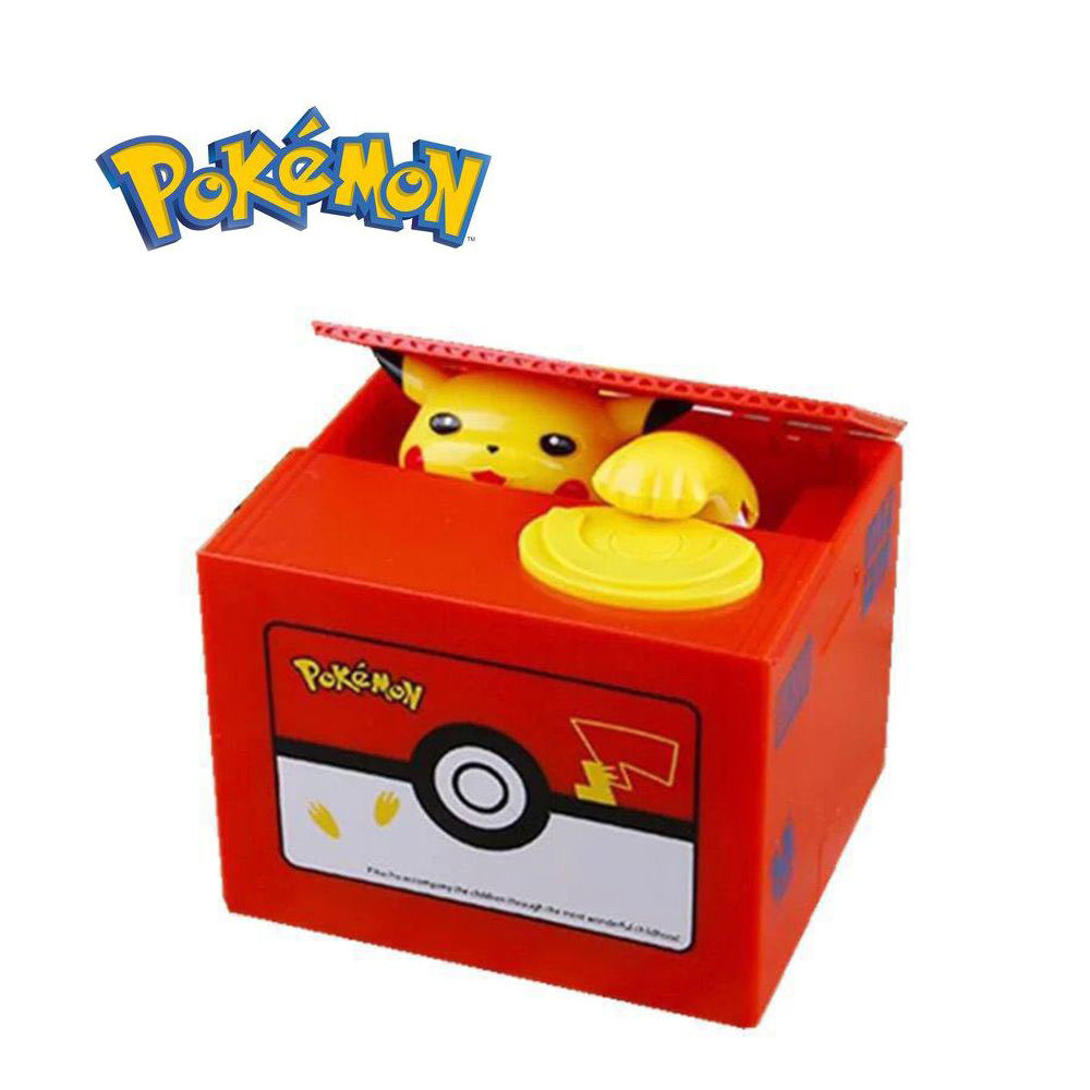 Original Takara Tomy Pokemon PiKachu Piggy Bank Cartoon Figures Printing Coins Collection Toy Chest for Kids Christmas Gifts
