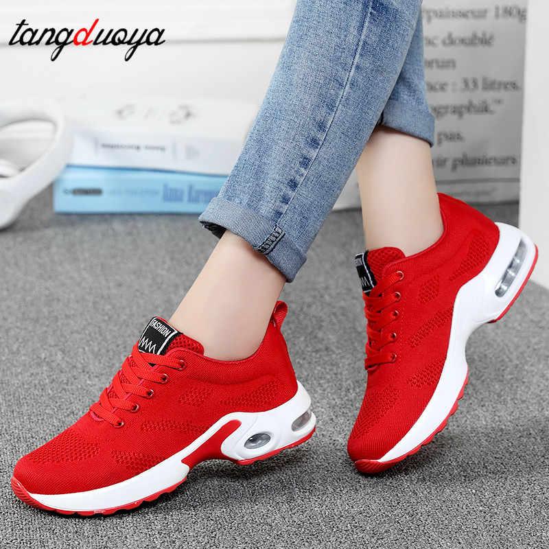 sneakers women black red pink casual