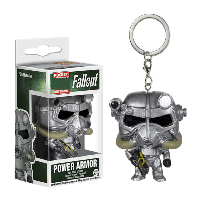 Pocket Fallout Power Armor Keychain Gaming Heads Fallout Action Figures Collectible Model Toys Children Gifts image