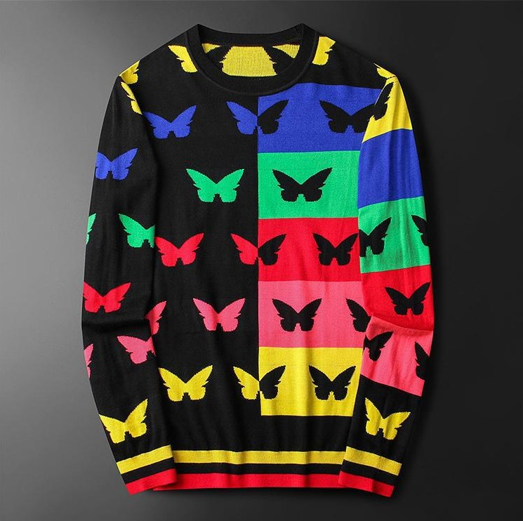 New Men Luxury Gentleman Cotton Embroidery Butterfly Striped Casual Sweaters Pullover Asian Plug Size High Quality Drake #M101