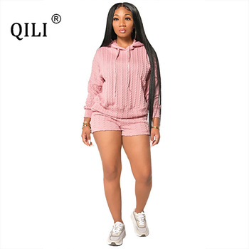 QILI Women Two Piece Hooded Long Sleeve Sets Pink Gray Khaki Solid Color Spring Autumn 2 Set Outfits Plus Size S-4xl