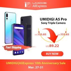 グローバルバージョン UMIDIGI A5 プロアンドロイド 9.0 オクタコア 6.3 'FHD + 水滴 16MP トリプルカメラ 4150mAh 4 1GB の RAM 4 グラム Celular スマートフォン