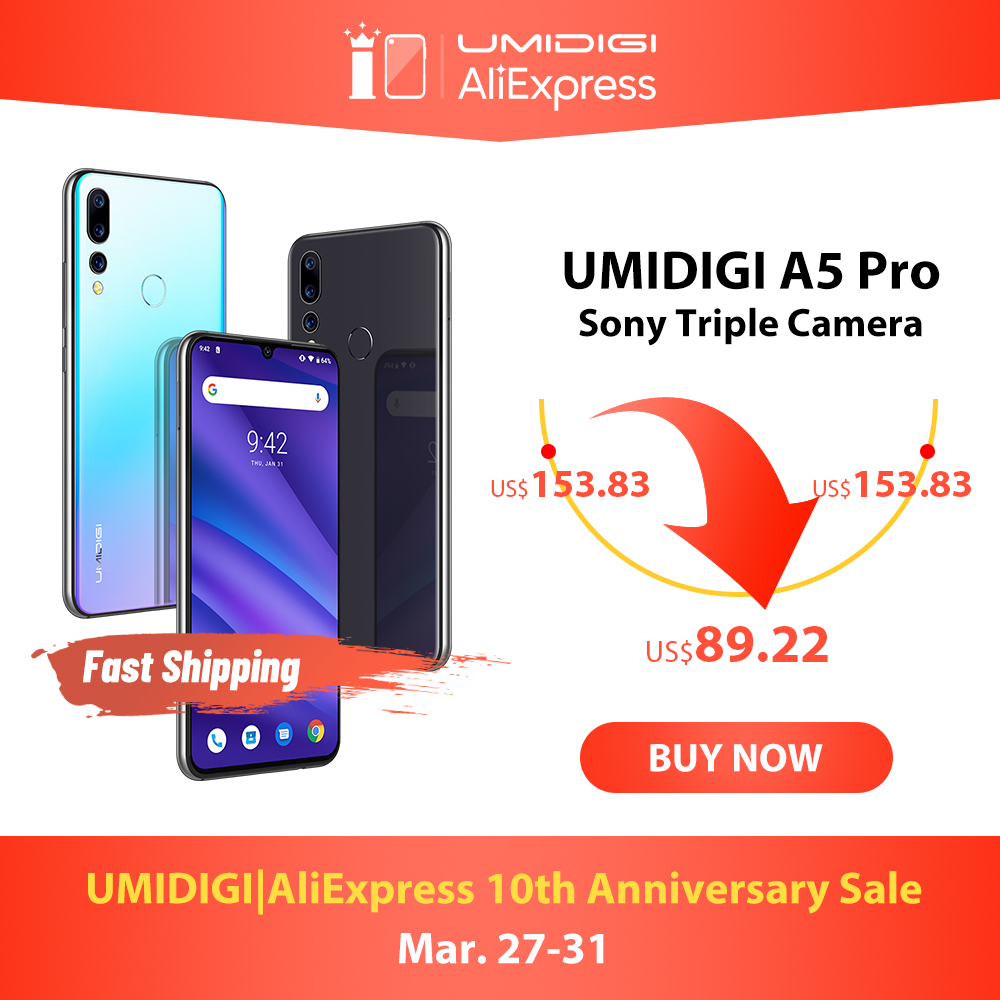 Global Version UMIDIGI A5 PRO Android 9.0 OCTA Core 6.3 'FHD + Waterdrop 16MP Triple กล้อง 4150mAh 4GB RAM 4G Celular สมาร์ทโฟน