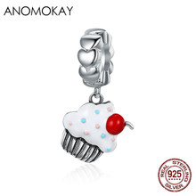 Anomokay 925 Sterling Silver Sweet Cherry Cream Cupcake Pendant Charms fit Pandora Bracelets Fine S925 Dangle Jewelry Gift(China)
