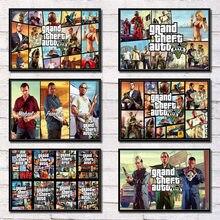 5 GTA Heißer Spiel Abdeckung Grand Theft Auto Leinwand Malerei Heißer Video Spiel Kunst Poster Wand Hause cuadros für gaming zimmer decortion