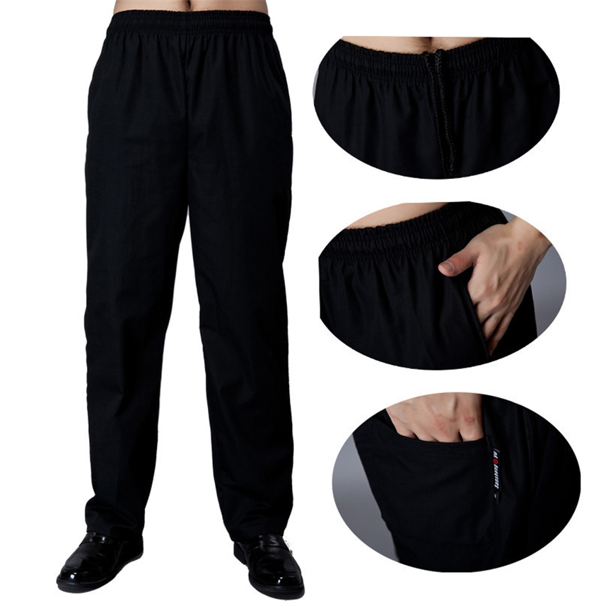 Hotel Restaurant Chef Pants Food Service Uniforms Elastic Waist Loose Executive Trousers Man Black Solid Pocket Cook Work Wear