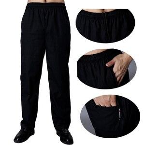 Hotel Restaurant Chef Pants Food Service Uniforms Elastic Waist Loose Executive Trousers Man Black Solid Pocket Cook Work Wear