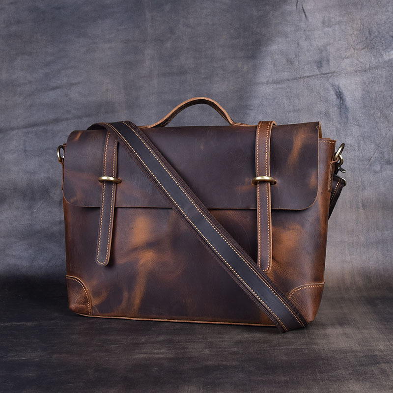 2020 Vintage Men's Cow Genuine Leather Briefcase Crazy Horse Leather Messenger Bag Male Laptop Bag Men Business Travel Bag