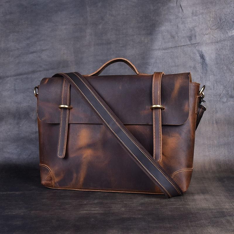 2020 Vintage Men's Cow Genuine Leather Briefcase Crazy Horse Leather Messenger Bag Male Laptop Bag Men Business Travel Bag