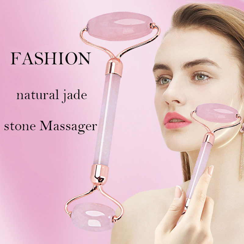 jingzeyi jewelry Rose Quartz Roller Slimming Face Massager Natural Jade Facial Massage Roller Stone Body Jade Gua Sha Beauty Set