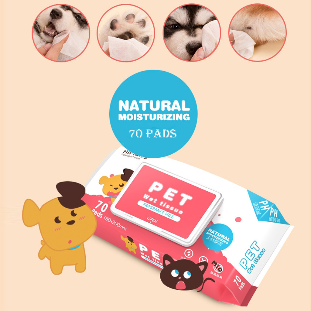 Antibacterial Moisturizing Pets Wet Tissue Cat And Dog Cleaning Wipes 70 Pads Stain Remover Cleaning Wipes
